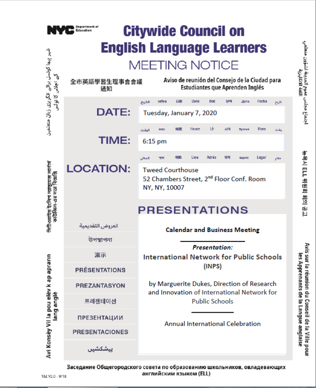 CCEL Meeting Notice in multiple languages
