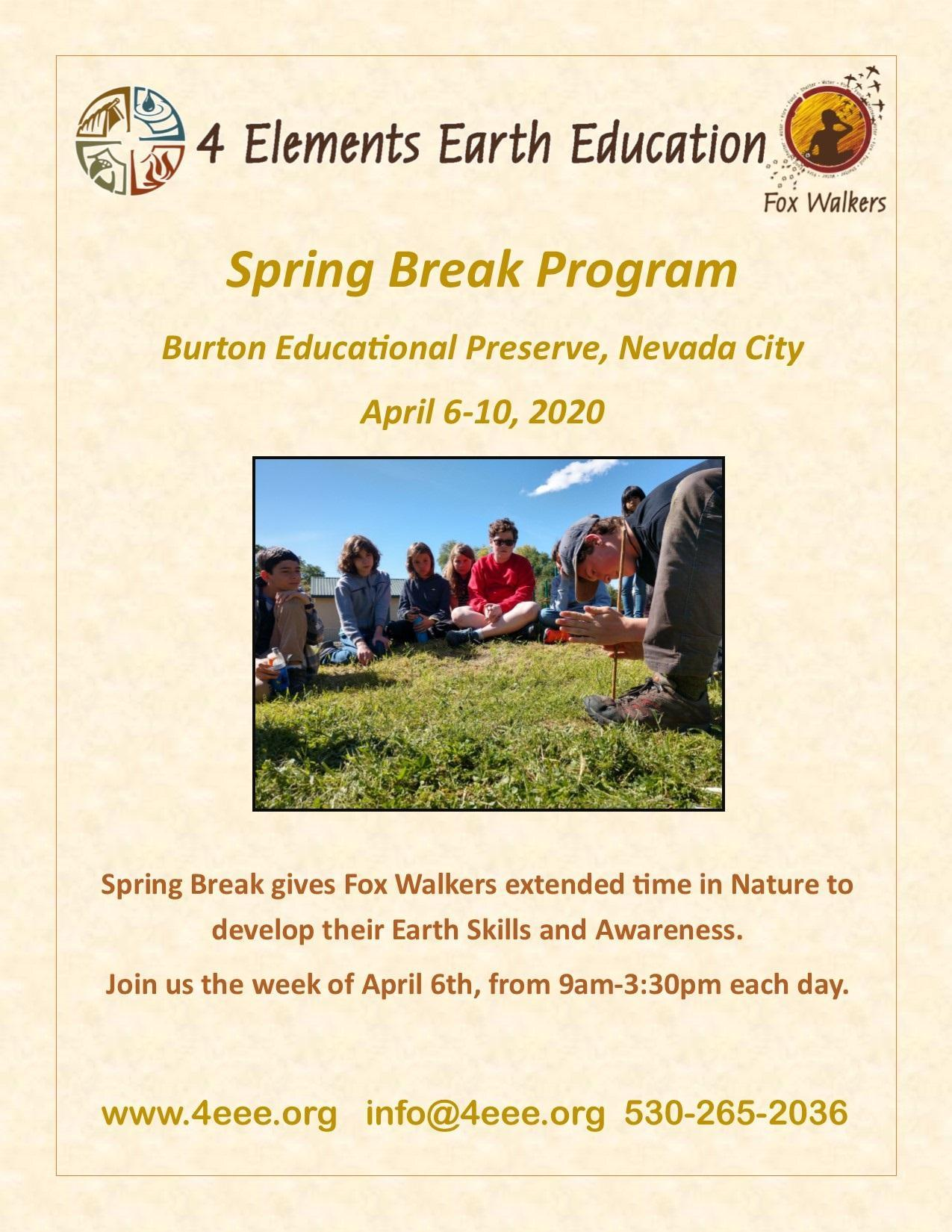 Flyer for Spring Break Program April 6-20 Burton Educational Preserve