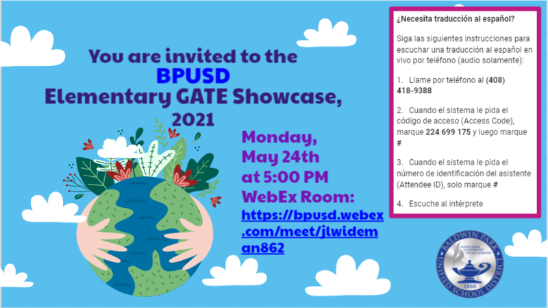 You are invited to the 2021 BPUSD Elementary GATE Showcase. Featured Photo