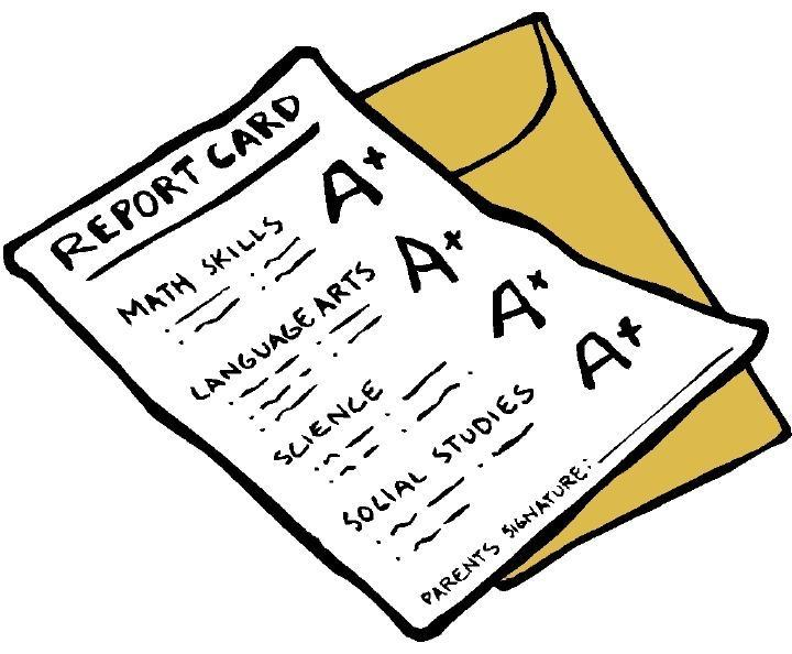 drawing of report card with envelope