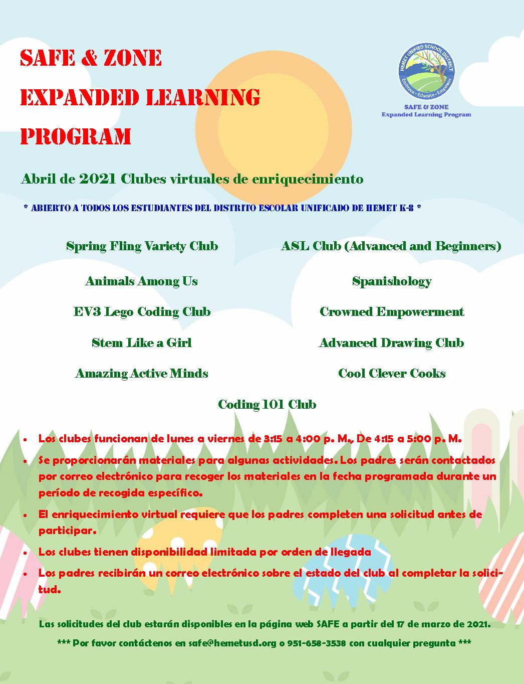 April Enrichment Clubs