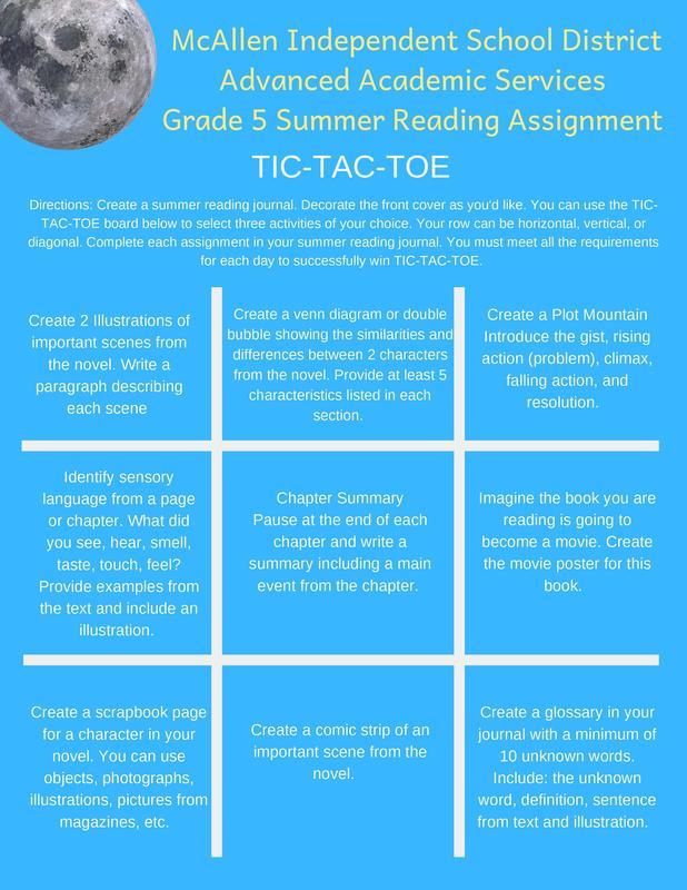5th grade Summer Reading