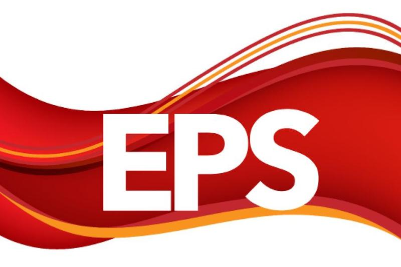 EPS logo, crimson and gold waves