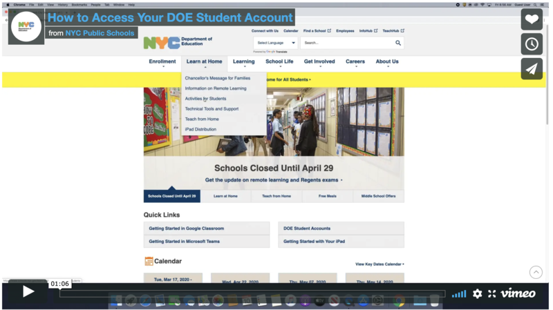 department of education student accounts webpage