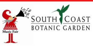 Jester with trumpet: Music Fair at South Coast Botanic Garden - hummingbird logo