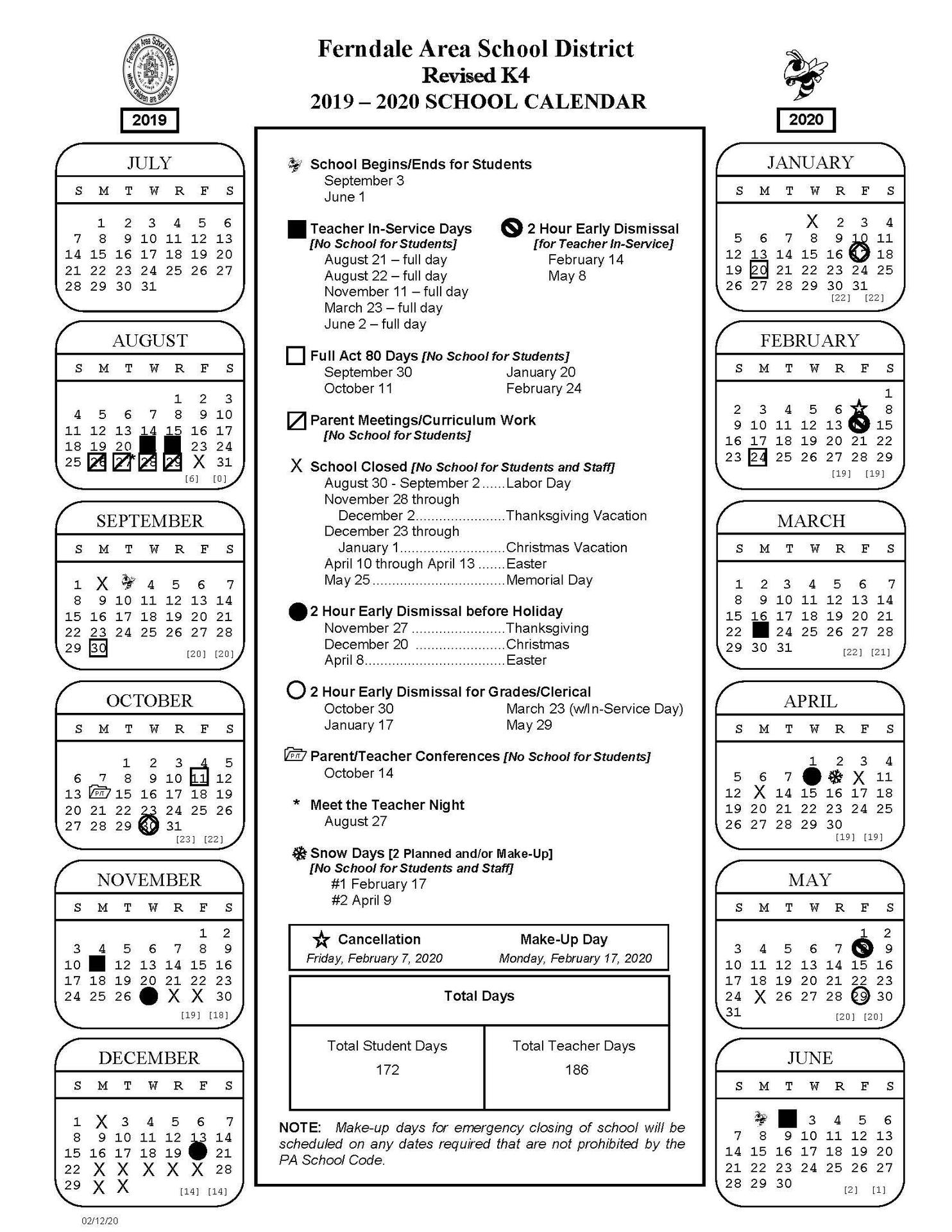 2019-2020 Revised K4 School Calendar