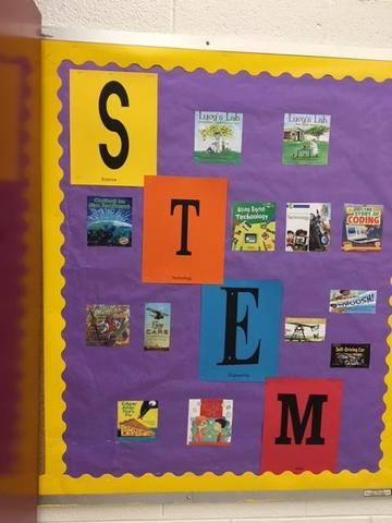 bulletin board that has the letters S,T,E