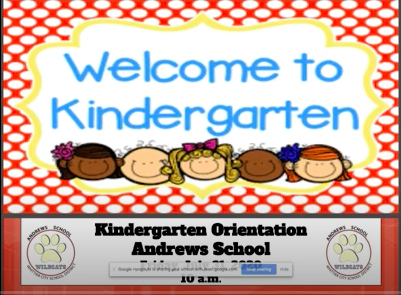 Screen shot of Kindergarten Parent orientation