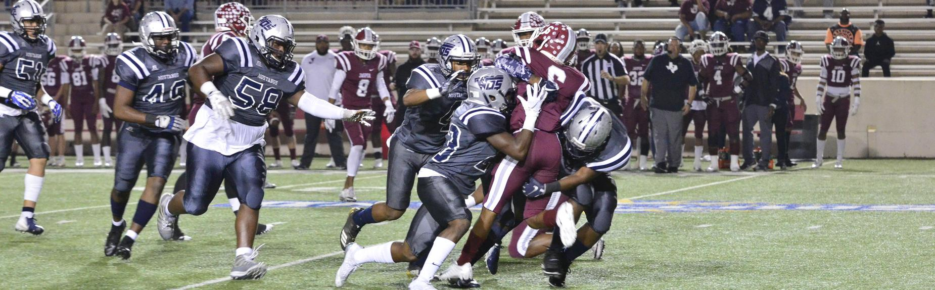 The Mustang defense takes down the Jasper quarterback!