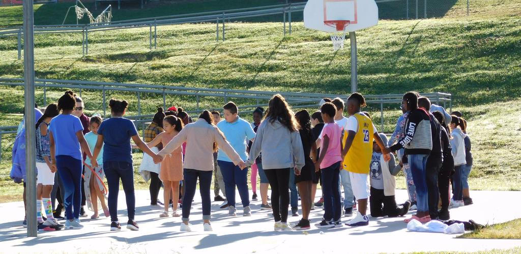 Fifth grade classes playing game