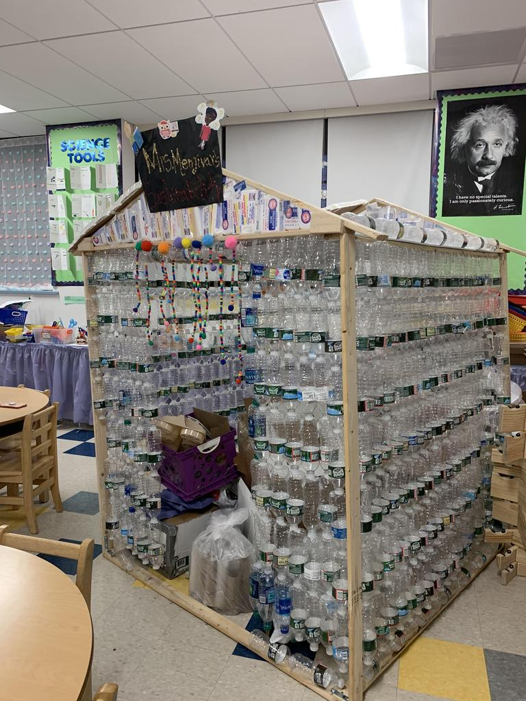 house made out of recycled water bottles