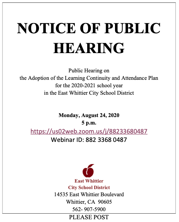 Screenshot of Notice of Public Hearing flyer