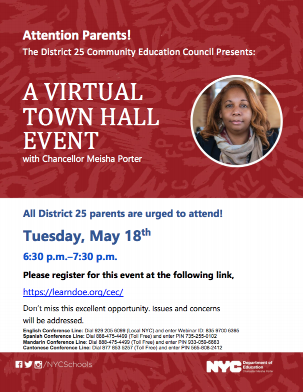 Virtual Town Hall Event Flyer with the Chancellor Meisha Porter