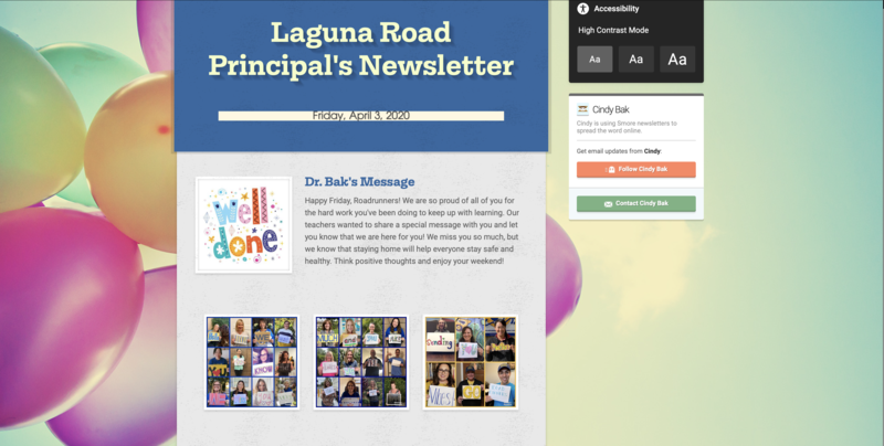 principal's newsletter screen shot