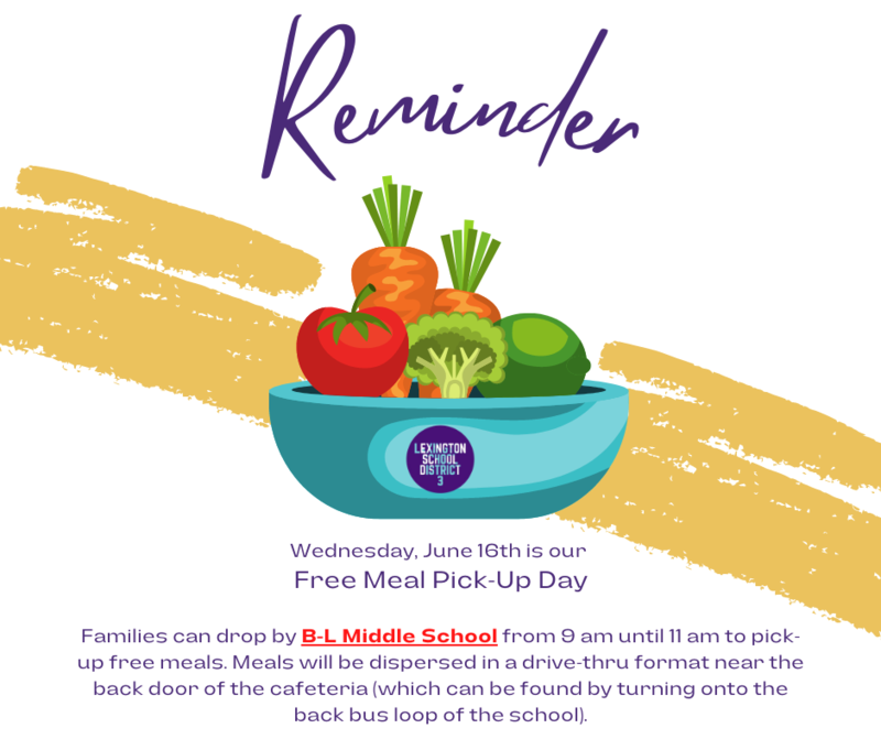 Free Meal Pick-Up Day Scheduled for June 16th