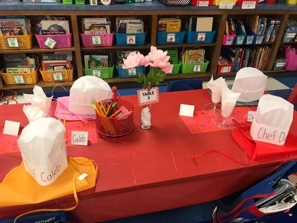 A table set for the 'book tasting'