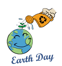 Smiling earth getting water from a person's hand holding a watering can with a recycle symbol on it.