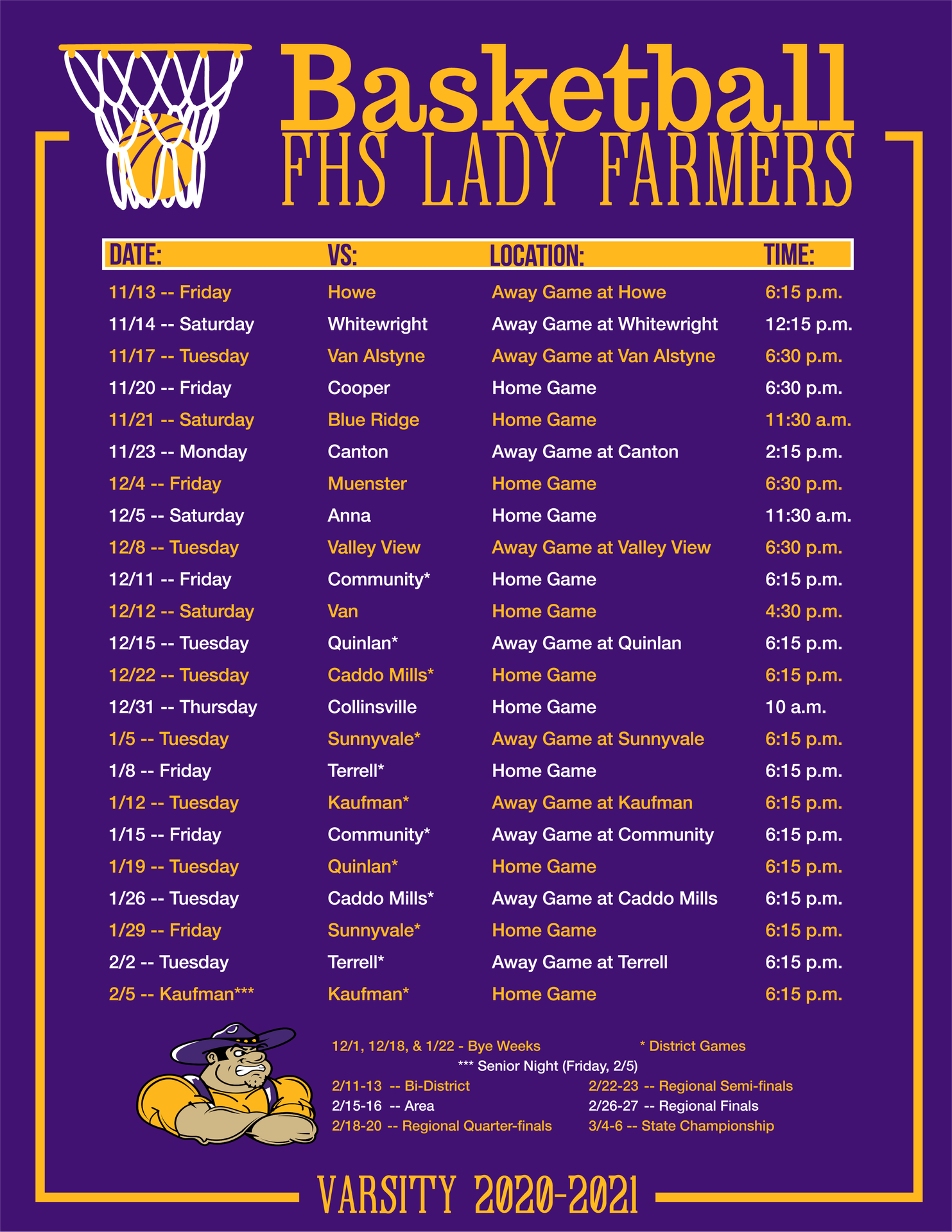 Lady Farmers Varsity Basketball Schedule