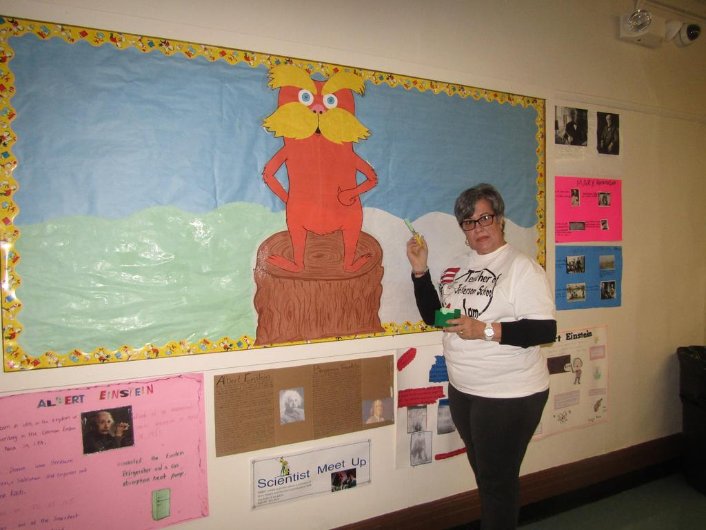 teacher at the who hears a who in whoville bulletin board display