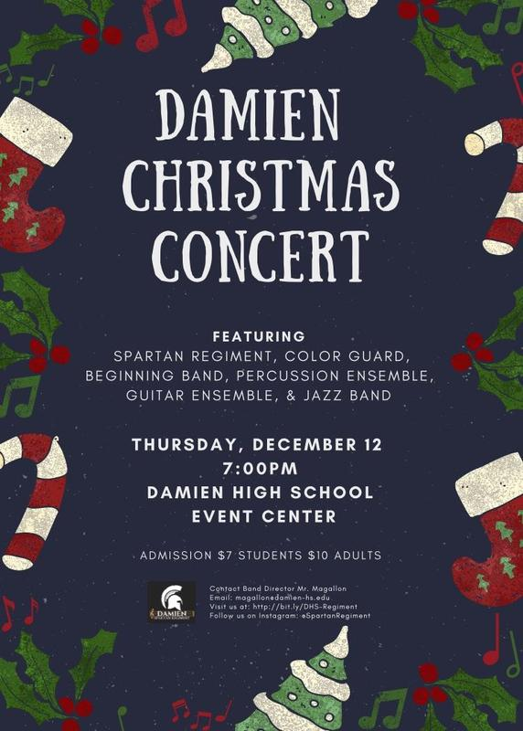 Damien Christmas Concert, Thursday, December 12th at 7:00 p.m. Featured Photo