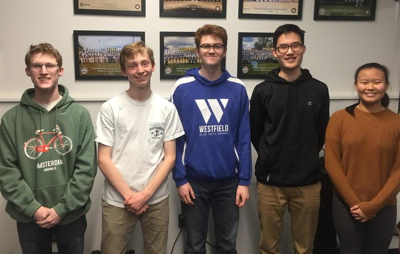 (L-R) Westfield High School student musicians Max Tennant, Conor Daly, Patrick Gallagher, Alex Cha, and Aprina Wang will perform with the New Jersey Music Educators Association (NJMEA) All-State Band at NJPAC on Saturday, February 22.