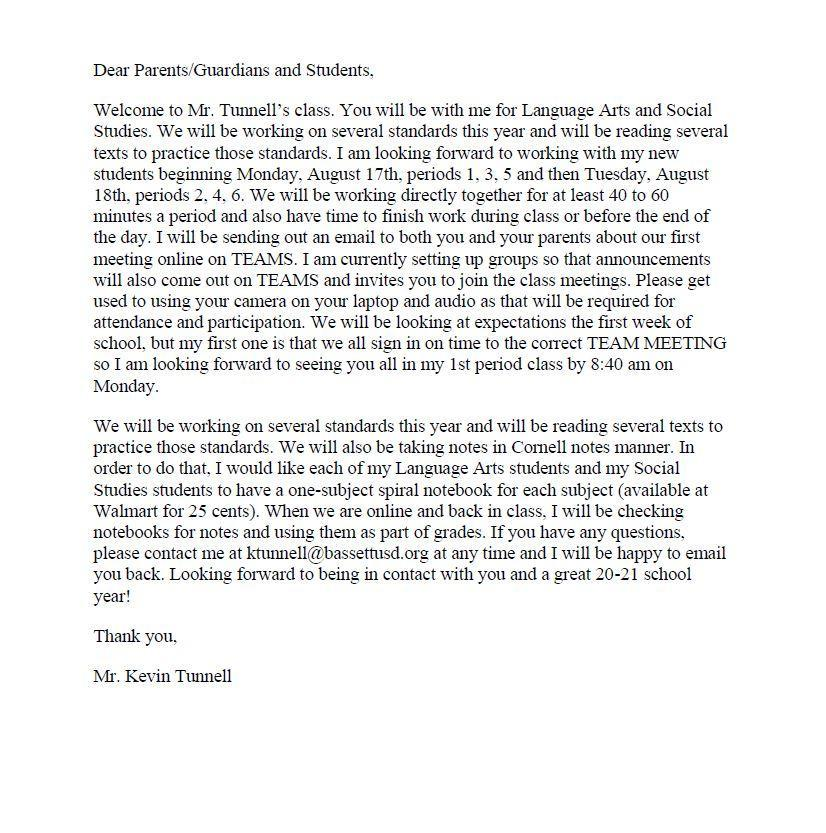 Welcome Back Letter from Mr. Tunnell