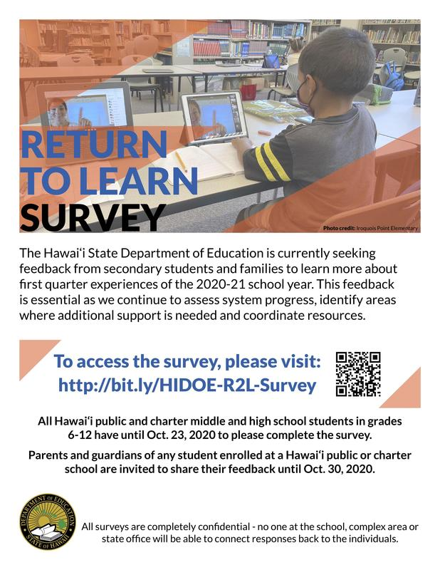Return to Learn Survey.  To access the survey, please visit http://bit.ly/HIDOE-R2L-Survey