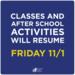 Return to school announcement