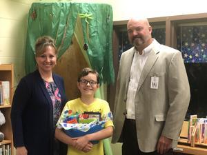 State YGA Winnder Erik Jordan with Principal Jones and Superintendent Cooper