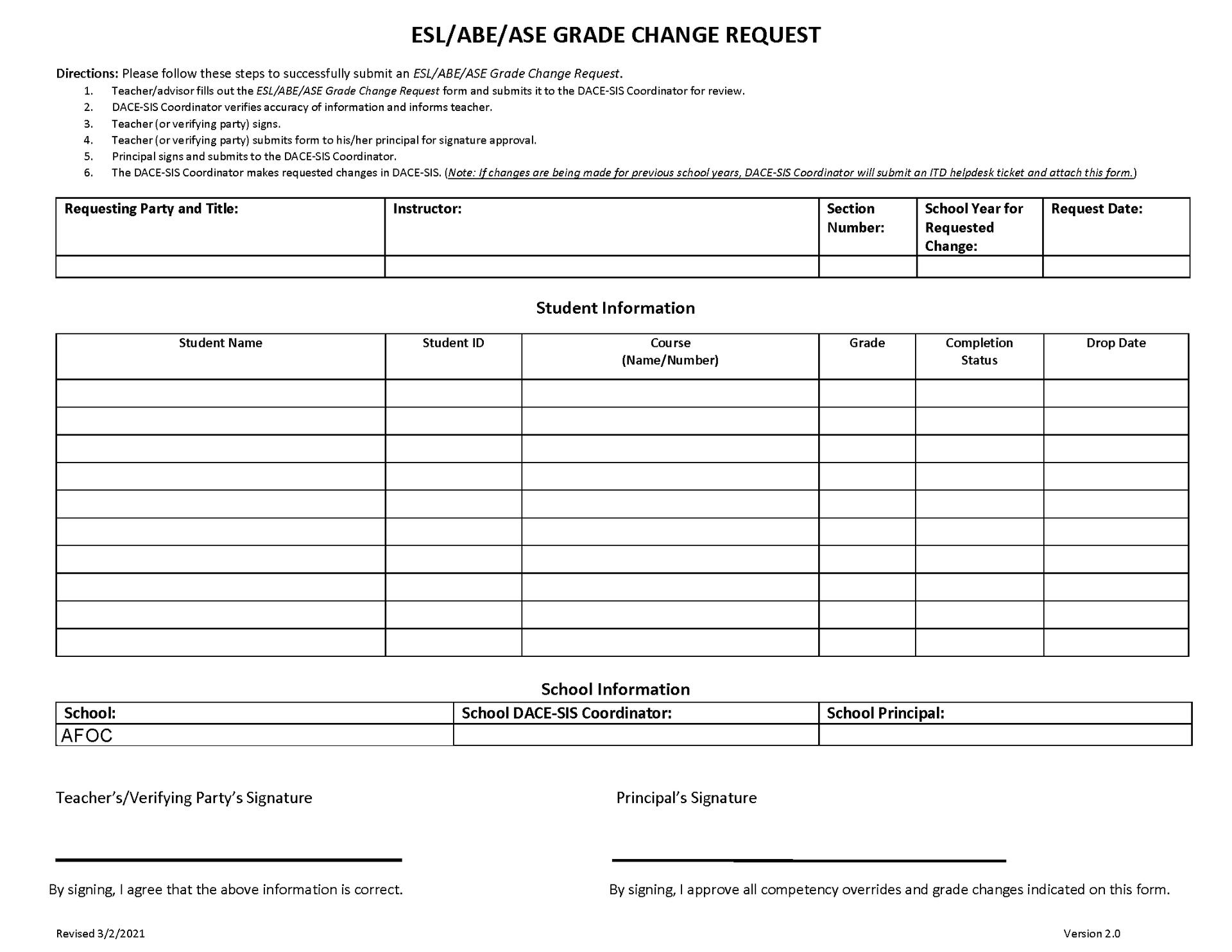 Download the ESL/ABE/ASE Grade Change Request Form thumbnail