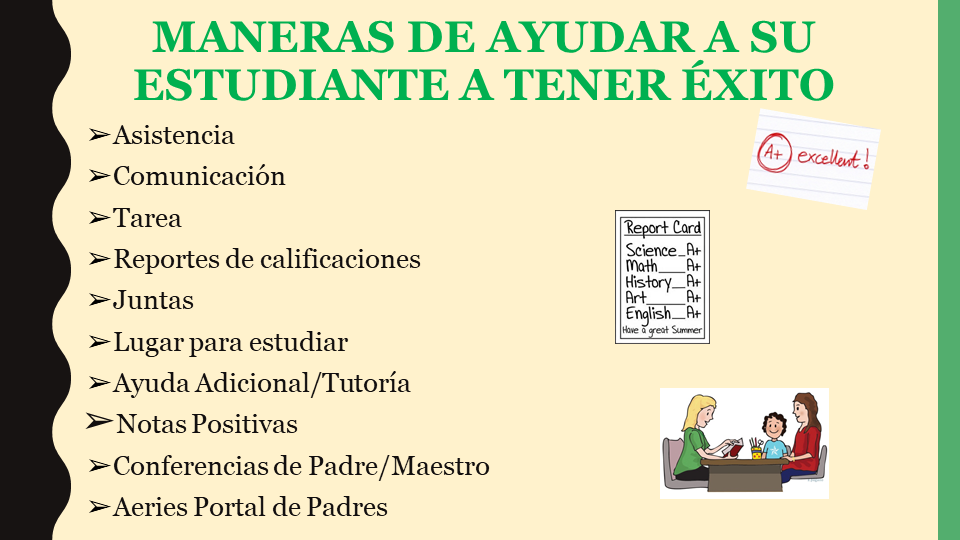 Ways to help your student succeed power point slide (Spanish)