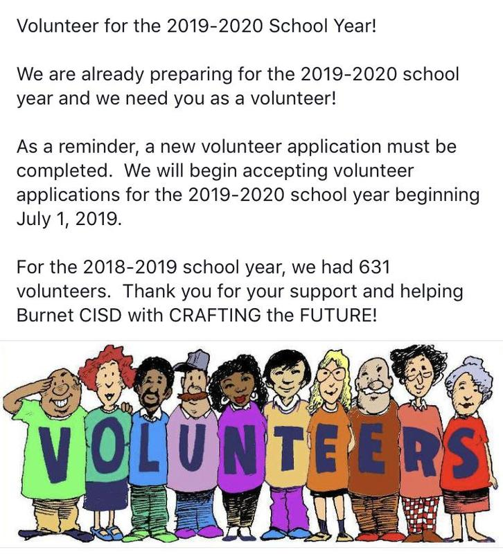 Volunteer for the 2019-2020 School Year! Thumbnail Image