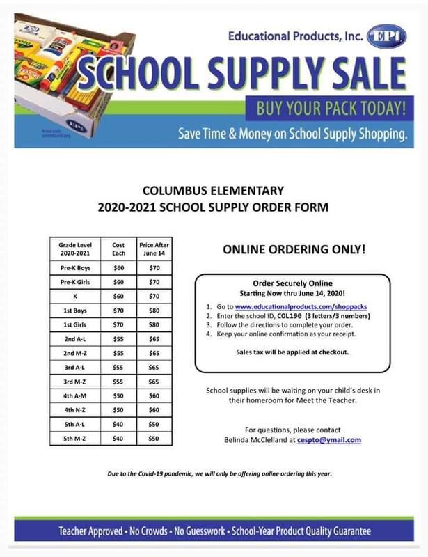 School Supply Order Form