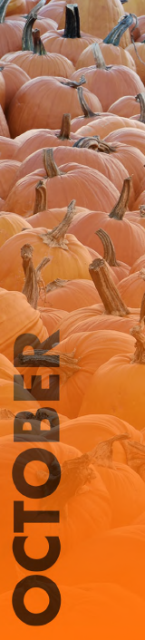 picture of pumpkins with word October overlaid