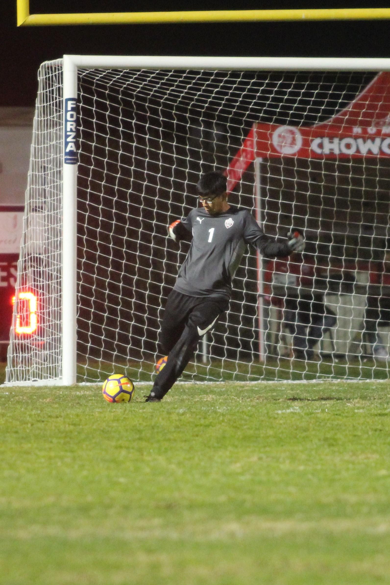Goalie stops ball