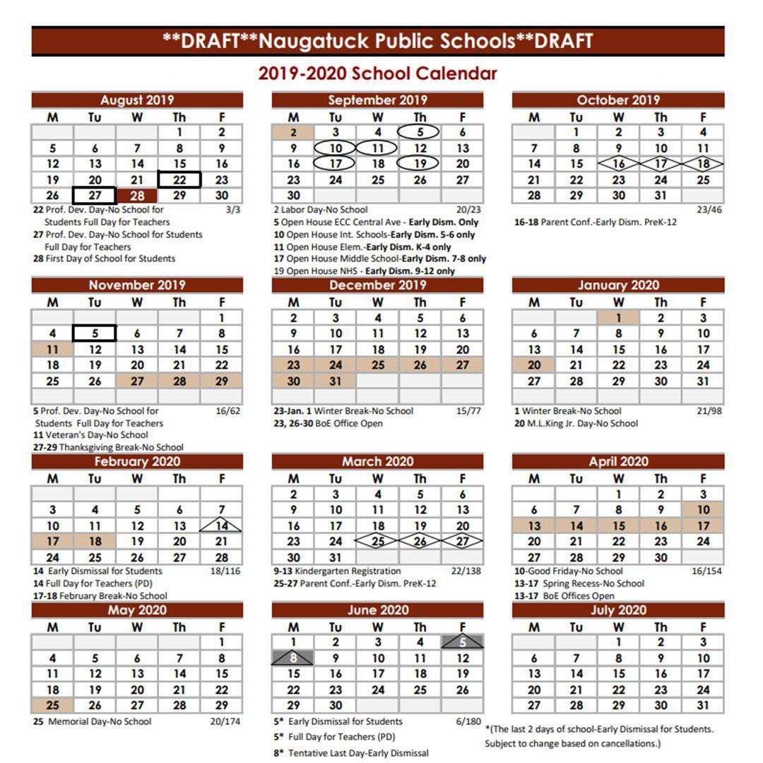 Boe Calendar 2019 Naugatuck School District