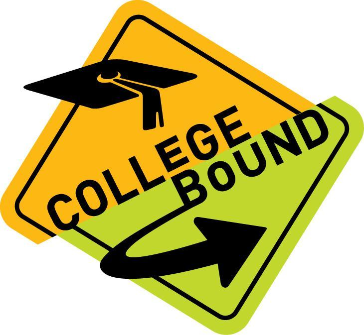College bound text on a road sign
