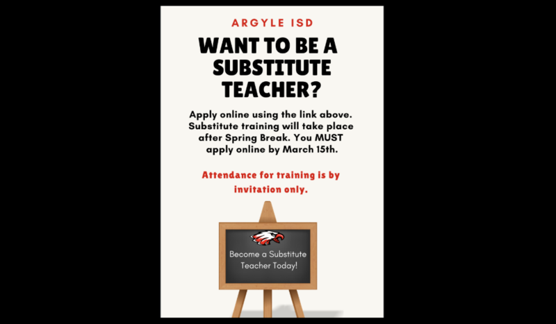 APPLY TODAY TO BE A SUBSTITUTE TEACHER FOR ARGYLE ISD Thumbnail Image