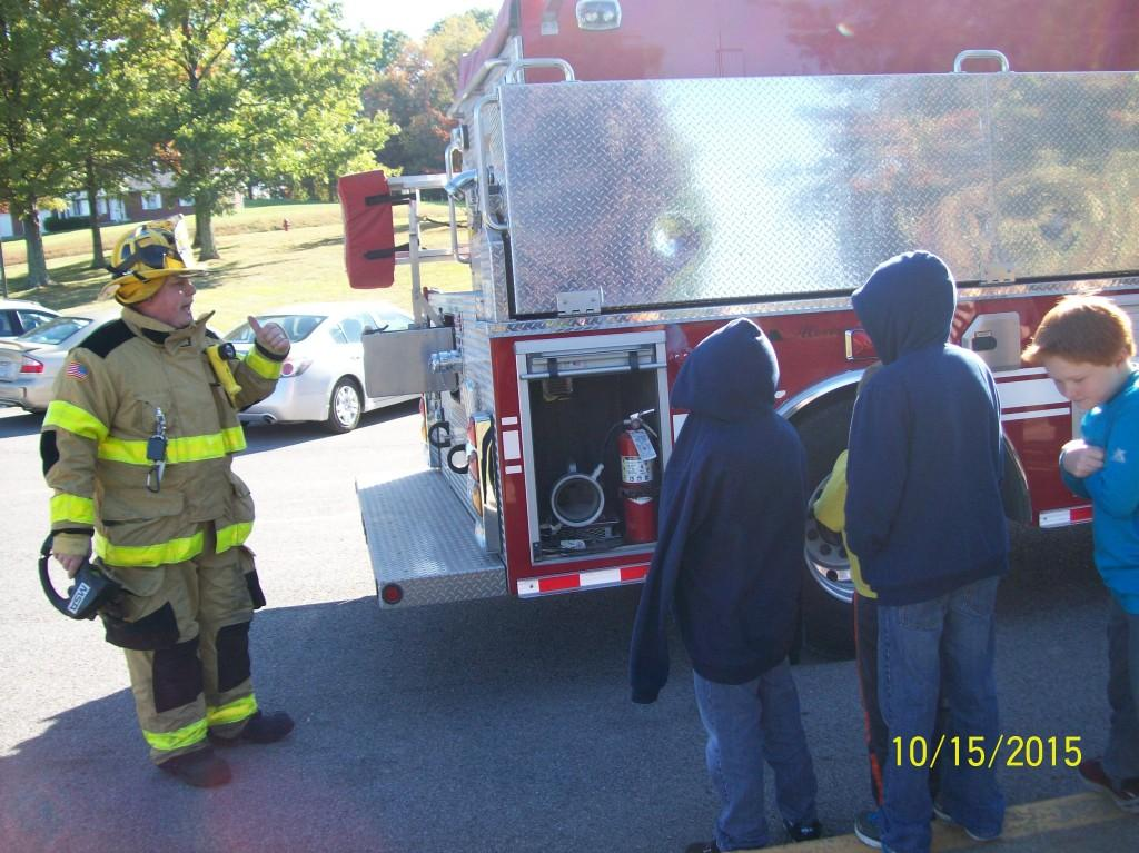 Students enjoy seeing a local fire truck