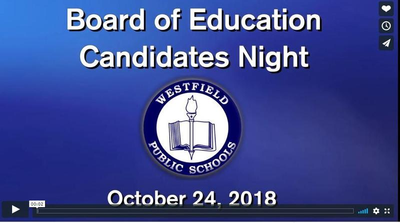 Screen shot of the opening slide introducing the video of Candidates Night for the Westfield Board of Education.