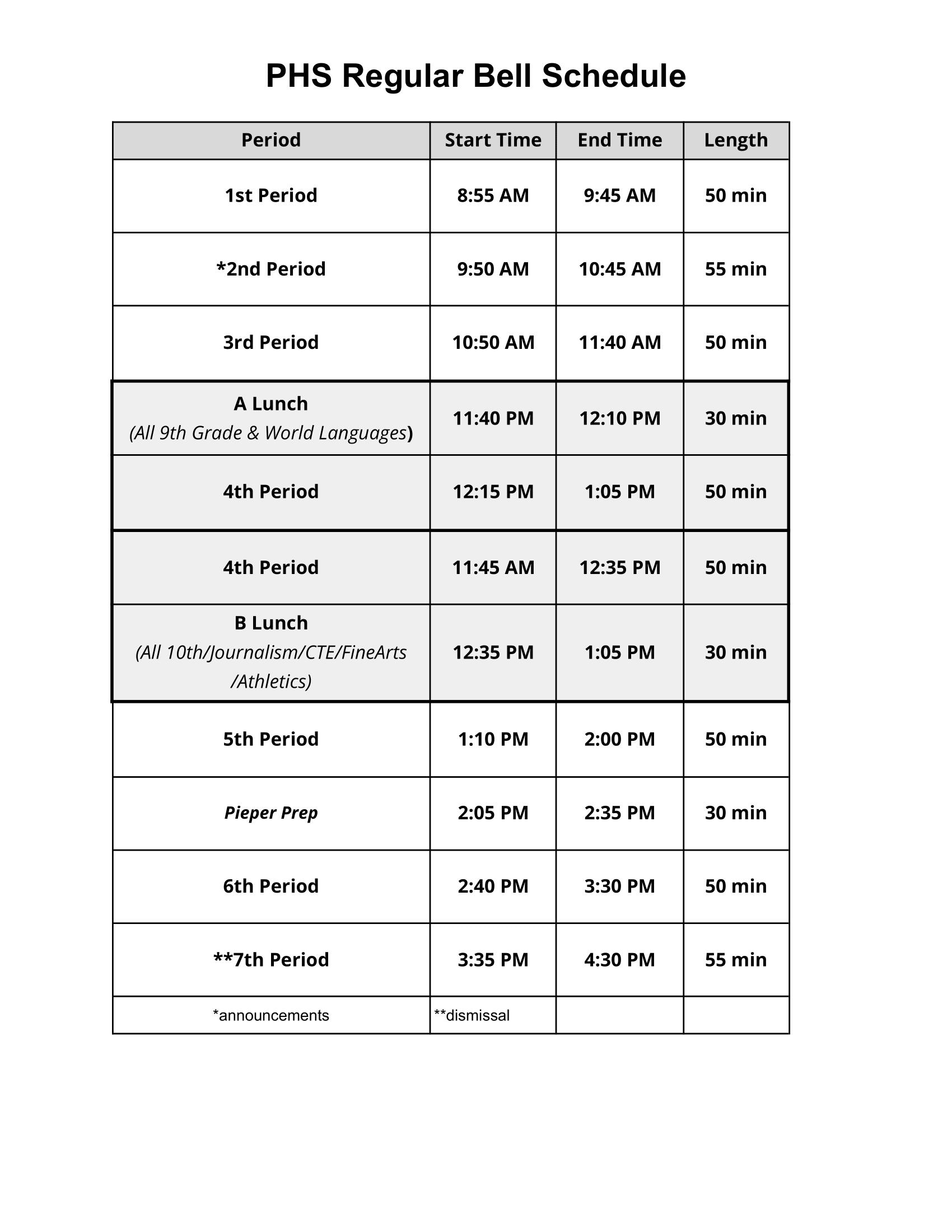 PHS Regular Bell Schedule