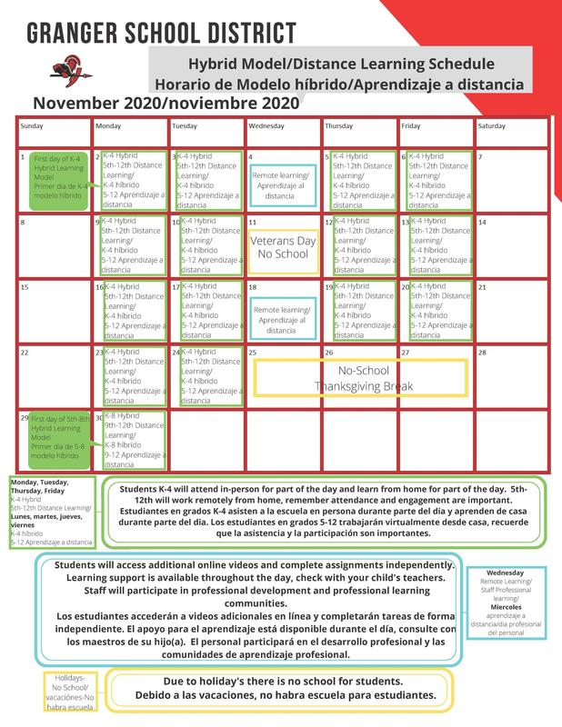 Learning schedule for November 2020