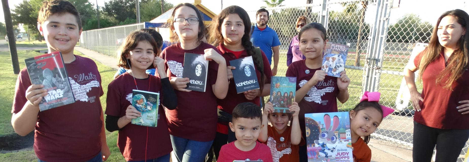 Waitz students at Little Library ribbon cutting ceremony