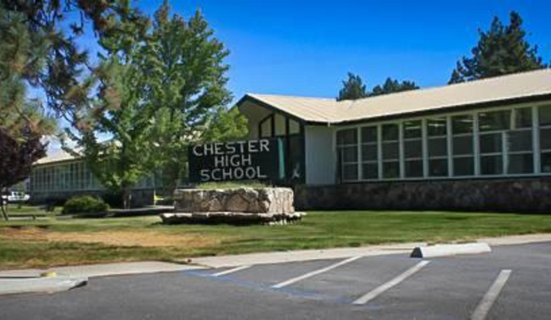 The Chester High School sign on the front lawn