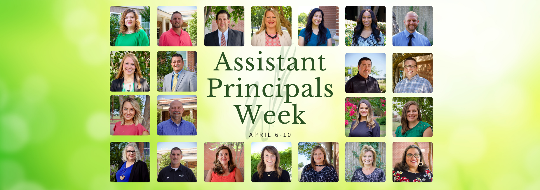 graphic of collage of headshots reads assistant principals week