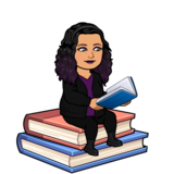 Bitmoji of a Hispanic female with dark hair and purple highlights. She is sitting on top of a stack of books and reading a book.