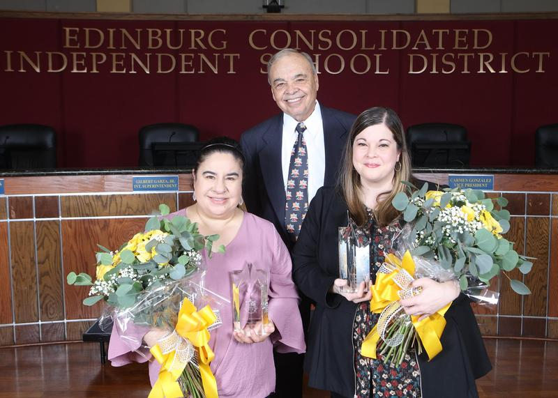 Edinburg CISD announces 2020-2021 District Teachers of the Year. Pictured (L-R): District Elementary Teacher of the Year Yvonne Garza, ECISD Interim Superintendent Gilbert Garza Jr. and District Secondary Teacher of the Year Cassandra Sanchez.