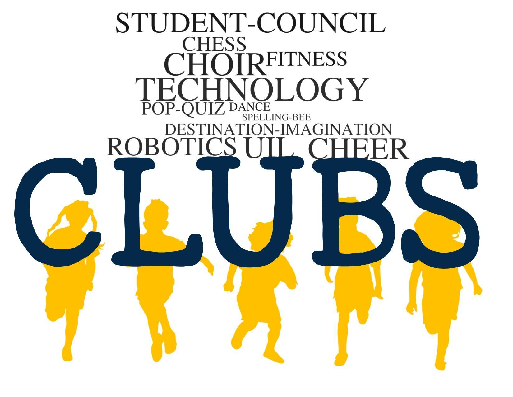Image of CLUBS WORD CLOUD WITH CHILDREN SILHOUETTE