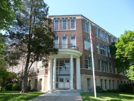 Exterior of Elm Street administration building.