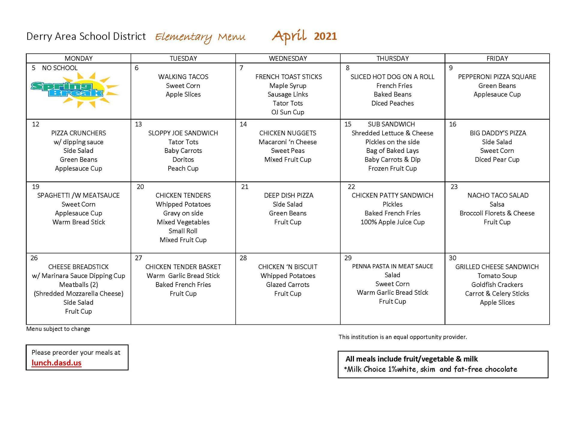 April Elementary Menu
